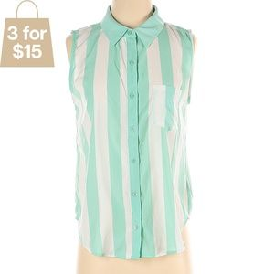 S Sleeveless Collared Button Up Teal Stripe Blouse